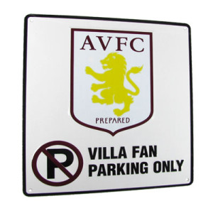 Plechová cedulka Aston Villa FC No Parking